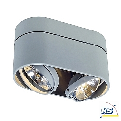 Loftlampe KARDAMOD SURFACE ROUND QRB DOUBLE, G53, max. 2x75W