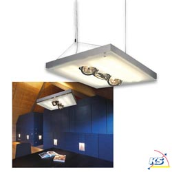 Pendant luminaire T5-GRILL QRB Acrylic glass satinated silver grey