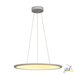 Pendant luminaire LED PANEL, round, silver grey, 40W, dimmable 1-10V, 2700K