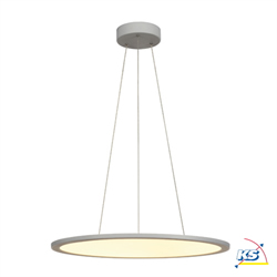 Pendant luminaire LED PANEL, round, silver grey, 40W, dimmable 1-10V, 3000K