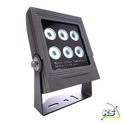 LED Udendørsspot Power Spot RGB + WW, 24V DC, 24W, 20°, IP65, 3000K, symmetrisk, antracit