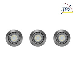 LED Indbygningsspot CRISTALDREAM 54 Downlight, rund, 3xGU10 LED, nikkel mat