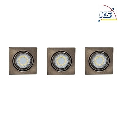 LED Indbygningsspot CRISTALDREAM 56 Downlight, firkantet, 3xGU10 LED, antik messing