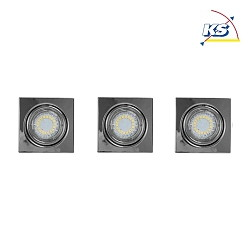 LED Indbygningsspot CRISTALDREAM 56 Downlight, firkantet, 3xGU10 LED, krom