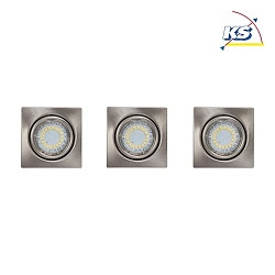 LED Indbygningsspot CRISTALDREAM 56 Downlight, firkantet, 3xGU10 LED, nikkel mat