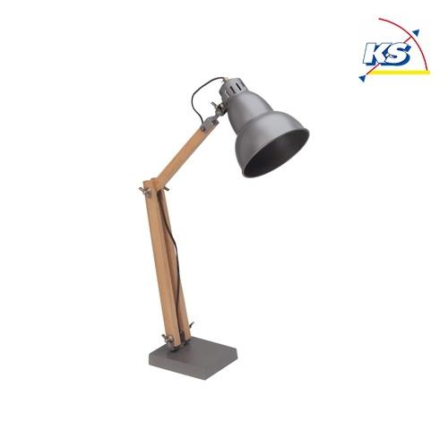 Fantastisk Bordlampe EDWARD, metal/træ, grå - Spot-Light - KS Lys Online-Shop EK53